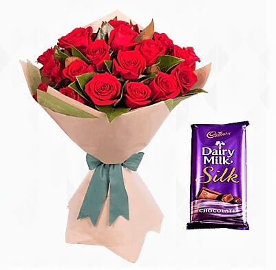 Red Roses with Silk Chocolate