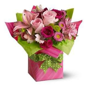 Pink Roses Flowers Box