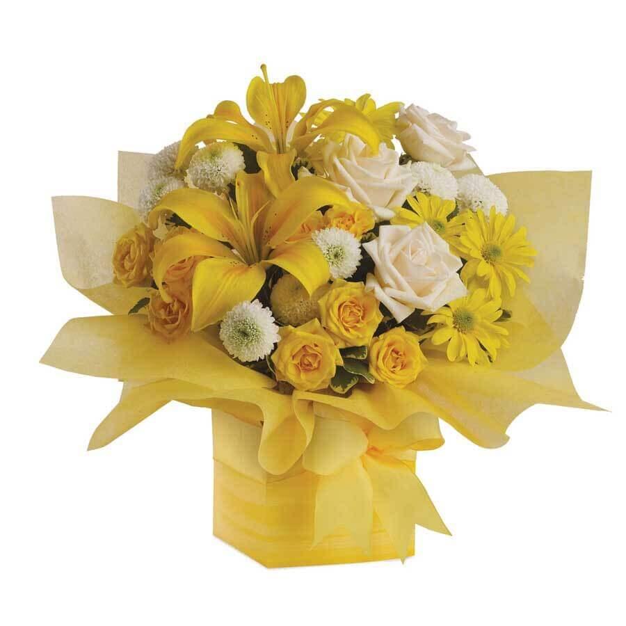 Birthday Mix Yellow Flower Arrangement Blooms Only